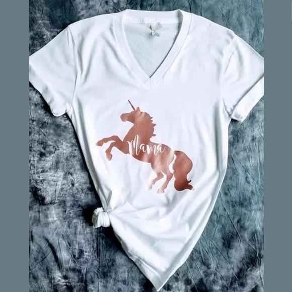 fc4b55608 Plum Creek Boutique Tops | Unicorn Mama Graphic Tee New Rose Gold ...